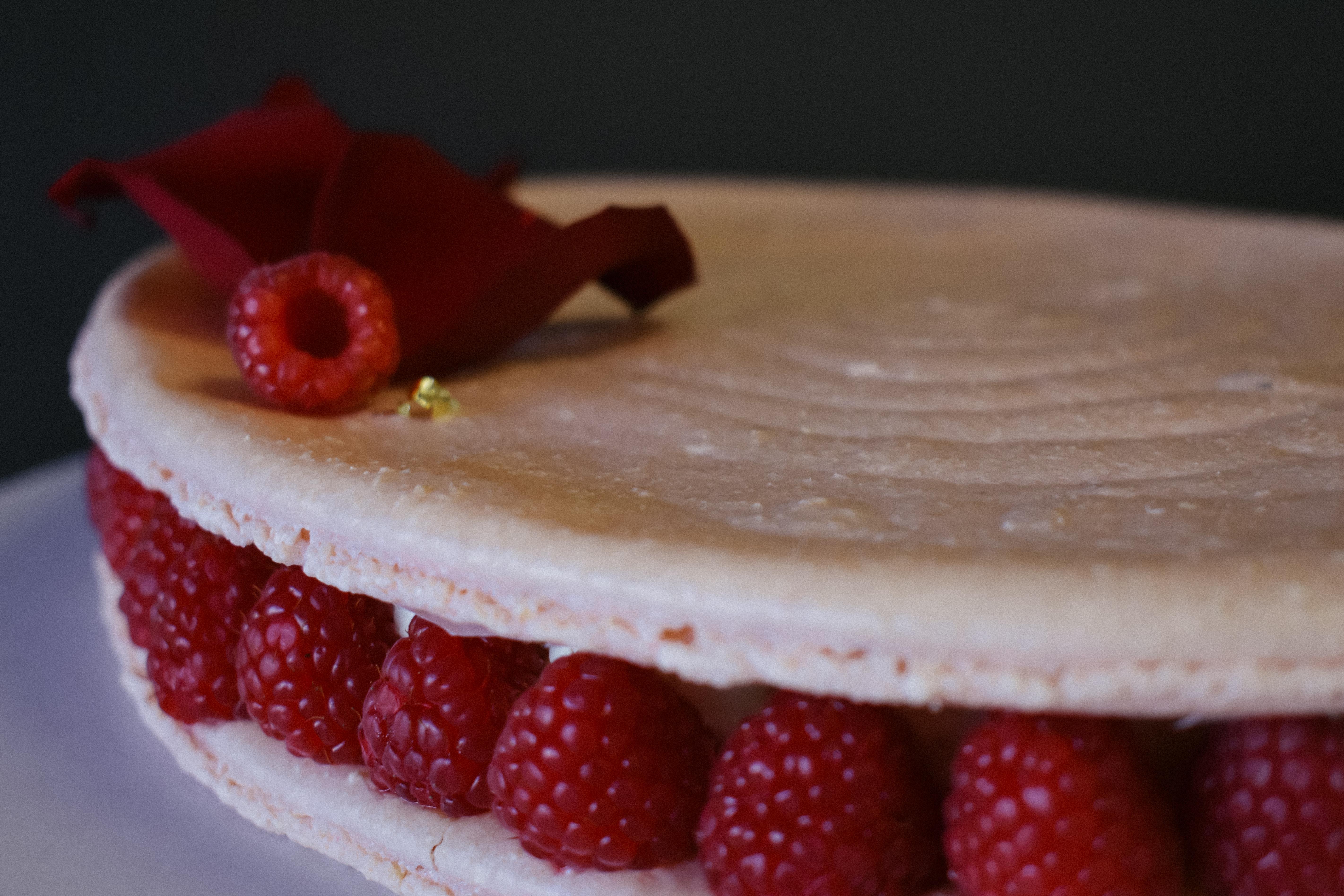 Raspberry Vanilla Macaron Cake Gluten Free for JL Patisserie high end bakery in Scottsdale