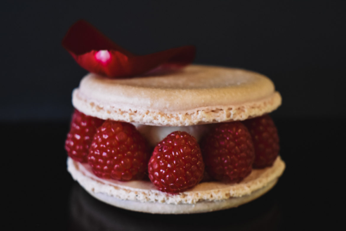 Raspberry Vanilla Macaron Cake Gluten Free for JL Patisserie high end bakery in Scottsdale