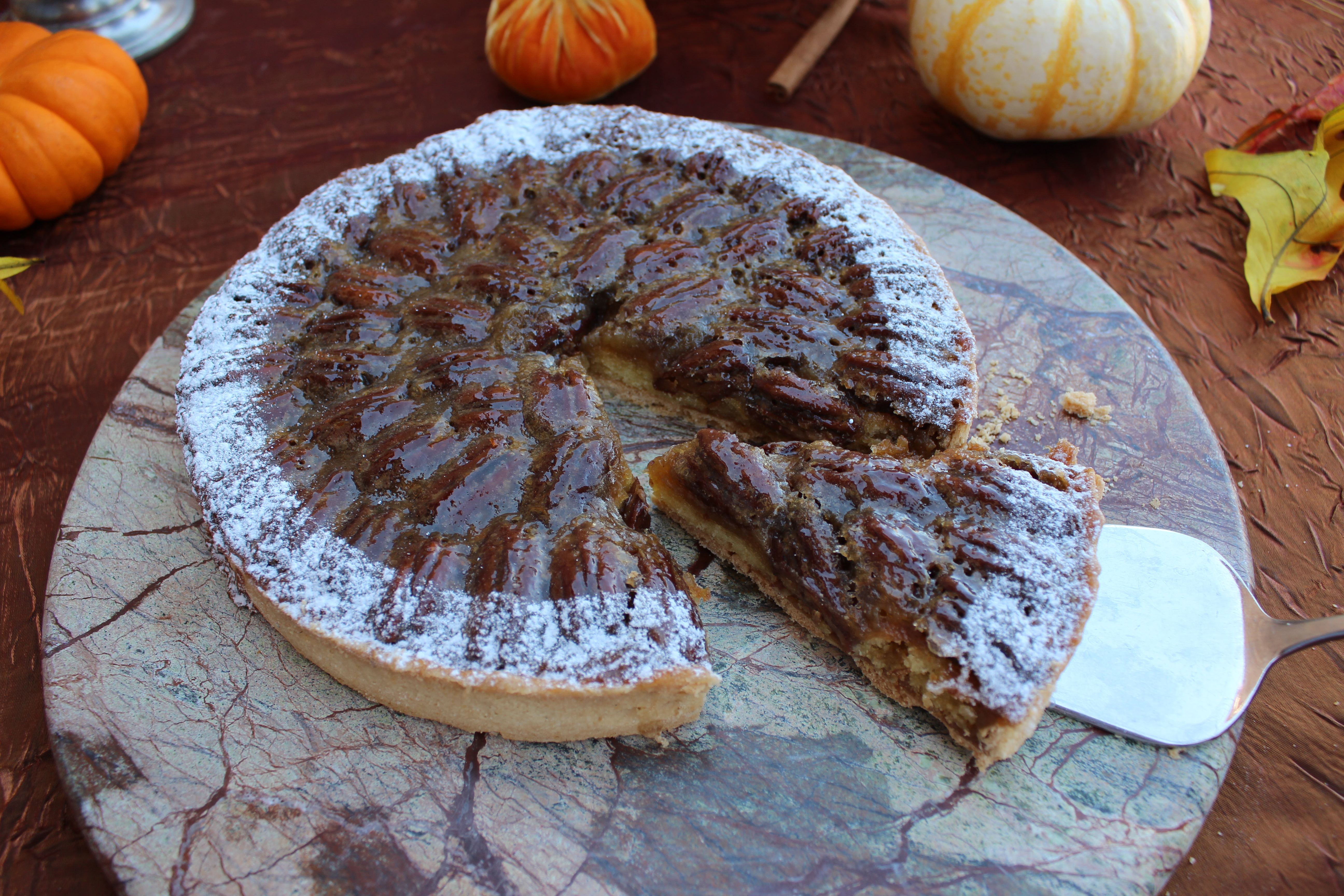 Pecan Pie with caramelized pecan butter, sea salted caramel and organic pecans