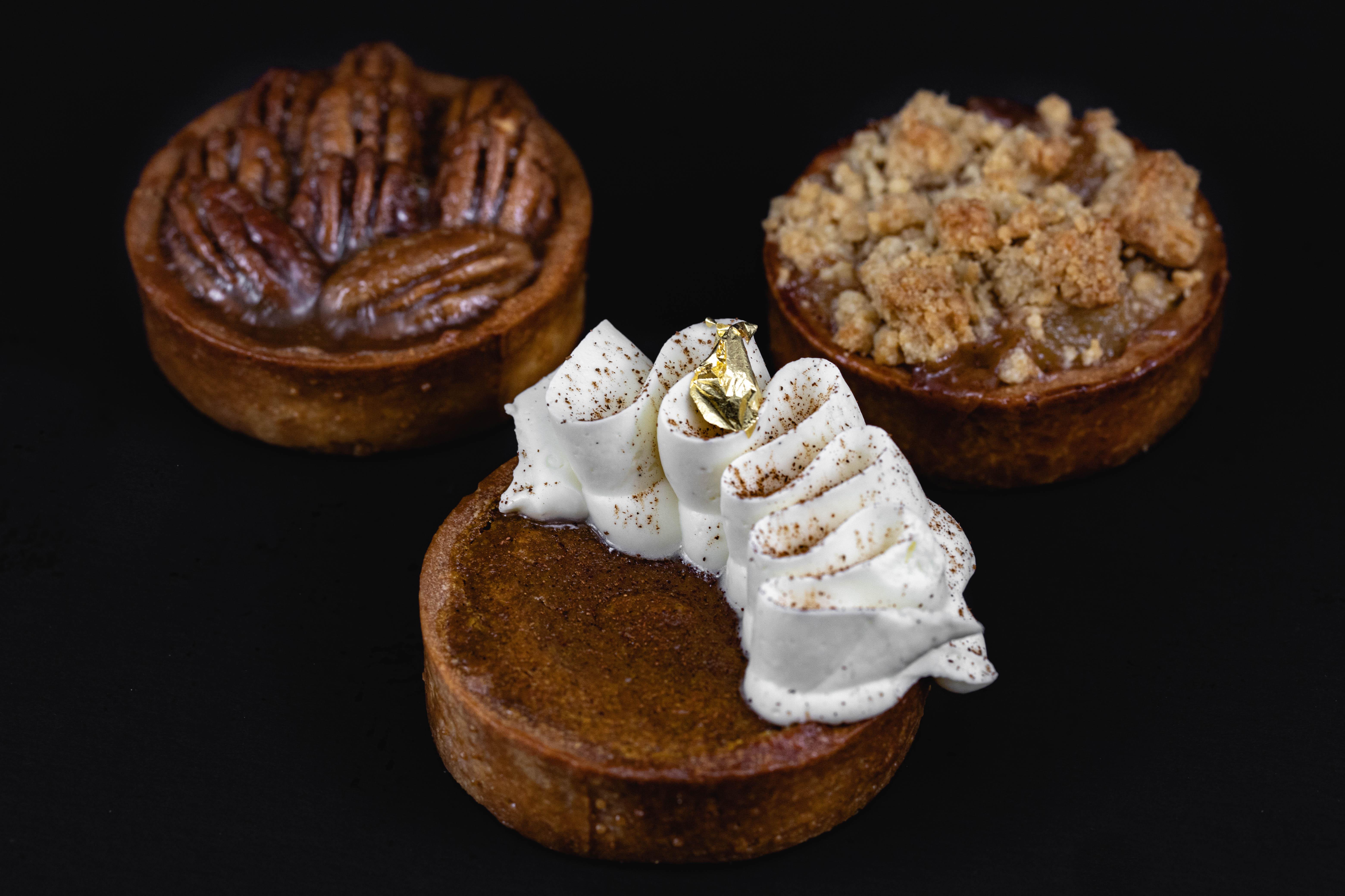 JL Patisserie fall collation – thanksgiving pies – pumpkin pie, pecan pies, apple pie available in gluten free